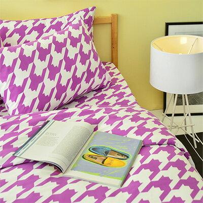 3M吸濕排汗 - Pure One 千鳥格紋-紫-單人兩件式床包組