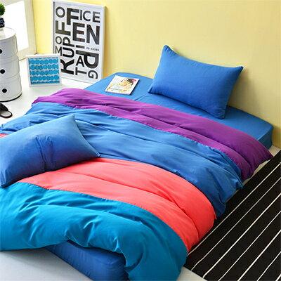 Pure One:3M吸濕排汗-PureOne水漾彩-藍-加大四件式床包被套組