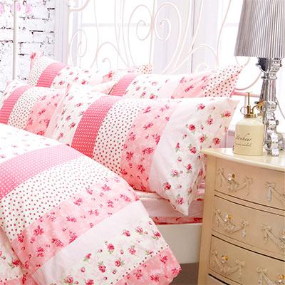 Pure One 浪漫花妍-粉-單人純棉三件式床包被套組