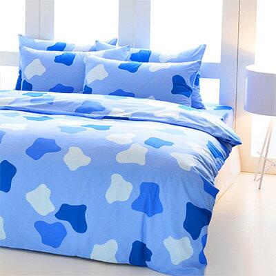 Pure One:PureOne印象派-藍-加大純棉三件式床包組