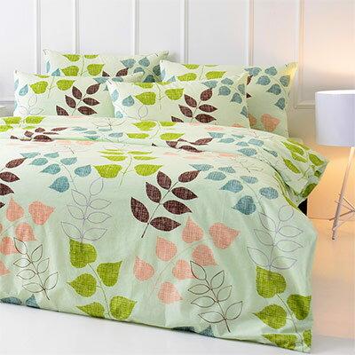 Pure One:PureOne迷戀森林-綠-雙人純棉三件式床包組