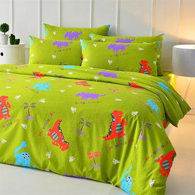 Pure One:PureOne侏儸紀樂園-綠-單人純棉三件式床包被套組