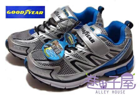 【巷子屋】GOODYEAR固特異 疾速先鋒-男童輕量運動慢跑鞋 [23016] 銀藍+免運