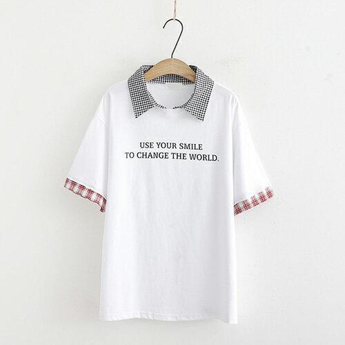 *ORead*條紋拼接字母印花短袖t恤(3色F碼) 1