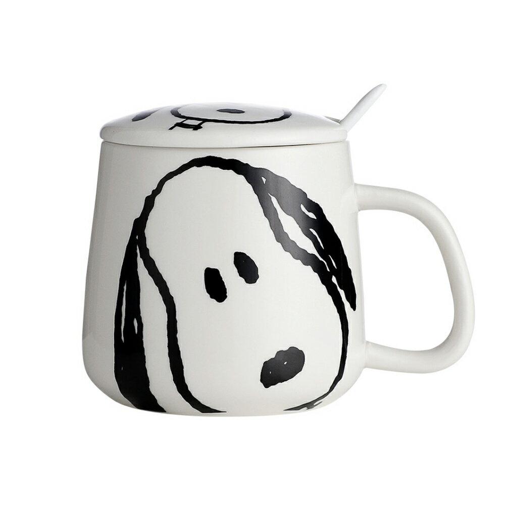 SNOOPY史努比可愛陶瓷馬克杯/個性潮流情侣杯/帶蓋帶勺水杯-350ml【優廚寶】