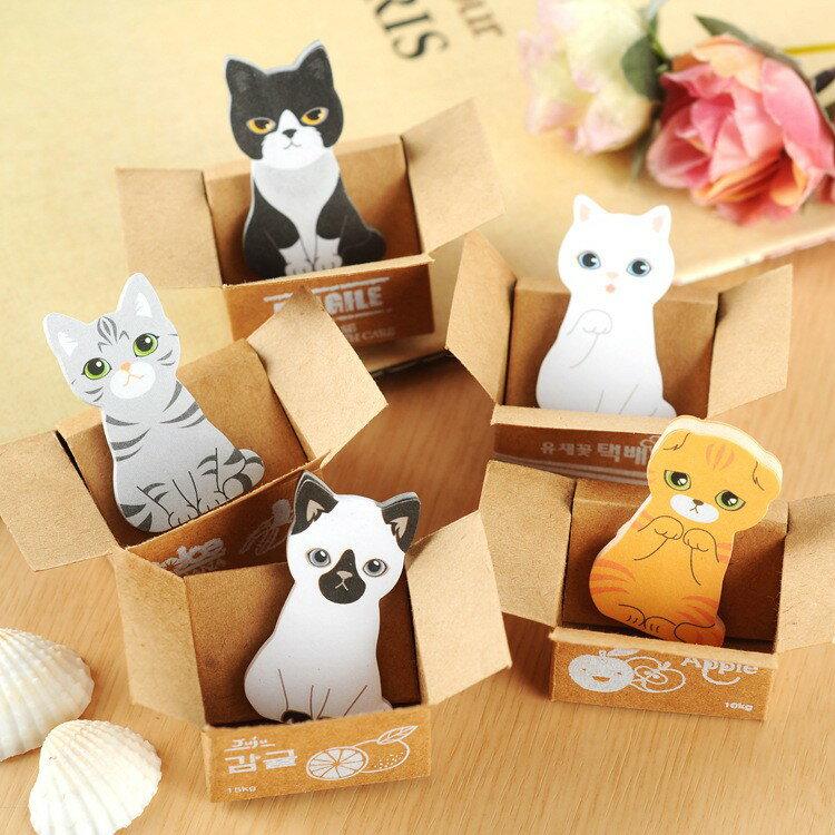 創意可愛紙箱貓咪N次貼可愛小貓便簽貼喵星人便利貼隨手貼 日韓文具 可愛紙箱貓咪便條紙【AM026】