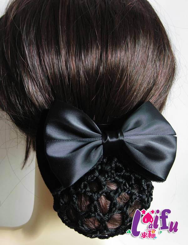 來福,K158行頭花頭飾員工蝴蝶結髮夾上班髮網,售價150元