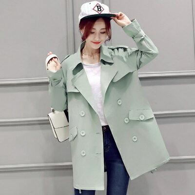 風衣外套翻領大衣-時尚修身顯瘦中長款女外套4色73iz12【獨家進口】【米蘭精品】
