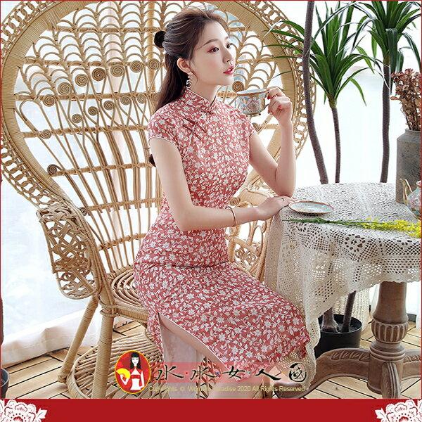 【水水女人國】~另人驚豔。藝術極品中國風~純葉。復古高雅雪紡印花日常修身收腰超顯瘦改良式時尚短袖旗袍洋裝