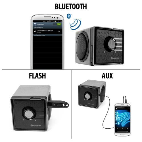 GOgroove BlueSYNC BX Series 2.0 Speaker System - 6 W RMS - Wireless Speaker(s) - Portable - Battery Rechargeable - Silver - 33 ft - Bluetooth - Near Field Communication - USB - Built-in Microphone, LED Indicator 1