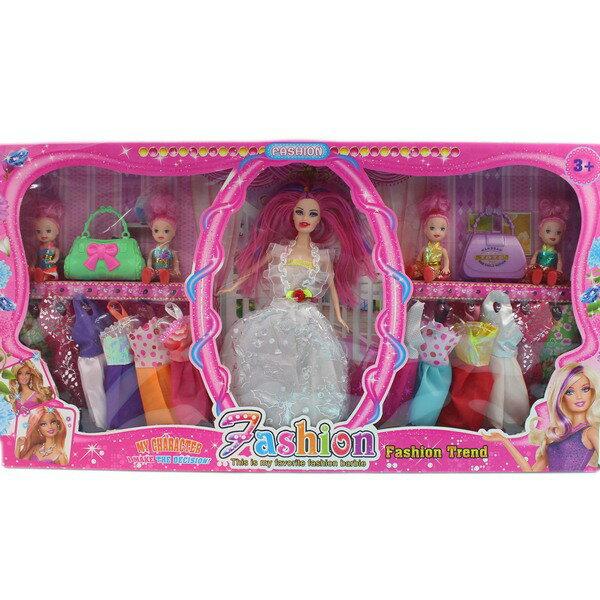 芭比娃娃 + 12件衣服 附加配件 588C/一盒入{促350}11.5吋洋洋娃~CF130053