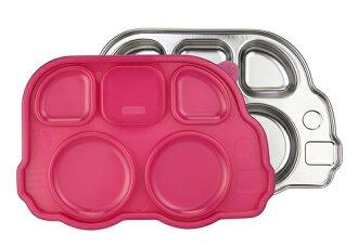 美國 Innobaby 不鏽鋼巴士造型餐盤 粉紅色 附餐盤蓋 *夏日微風*