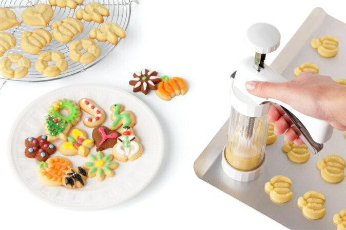 瑞士 Kuhn Rikon Clear Cookie Press 餅乾擠花器^(附收納盒^