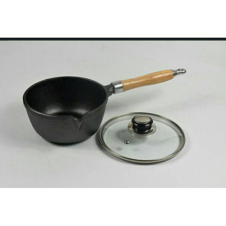 烘焙具匠 鑄鐵奶鍋 嬰兒小鐵鍋 無塗層不粘鍋 加厚平底 煮麵湯鍋通用(附蓋)