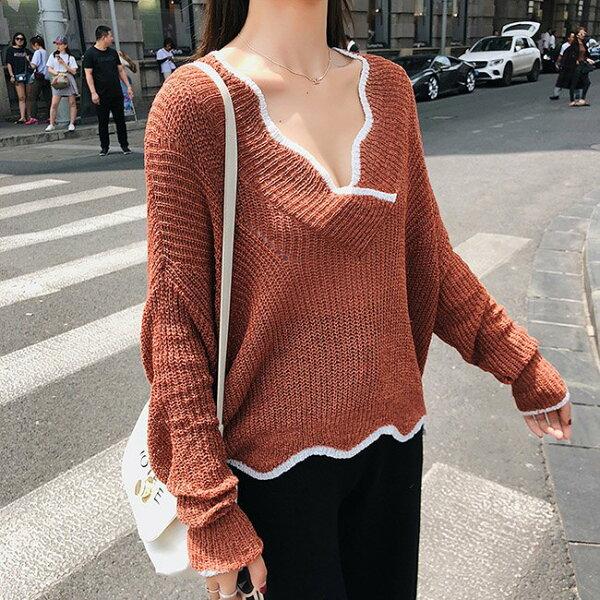 針織衫滾邊V領薄款鏤空罩衫透視寬鬆長袖針織衫【NDF5318】BOBI0927