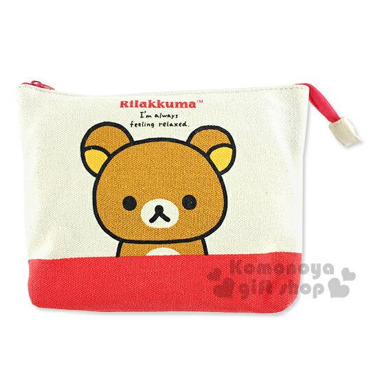 〔小禮堂〕懶懶熊 帆布斜背手機包《紅.半身》後方透窗設計