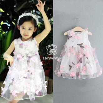 女童短袖洋裝 雪紡立體花朵連身裙 背心裙 小禮服 寶寶童裝 MS8011 好娃娃