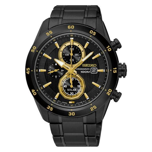 SeikocriteriaV176-0AS0SD(SSC541P1)極致競速太陽能計時腕錶黑面43mm