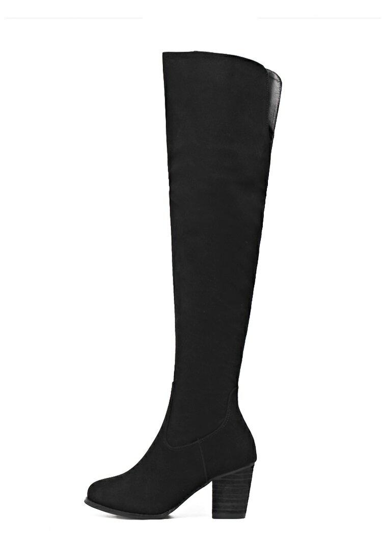 韓國秋冬顯瘦纖細美腿百搭粗跟好穿尖頭過膝長靴彈力包腿靴女靴麂皮絨料黑色杏色