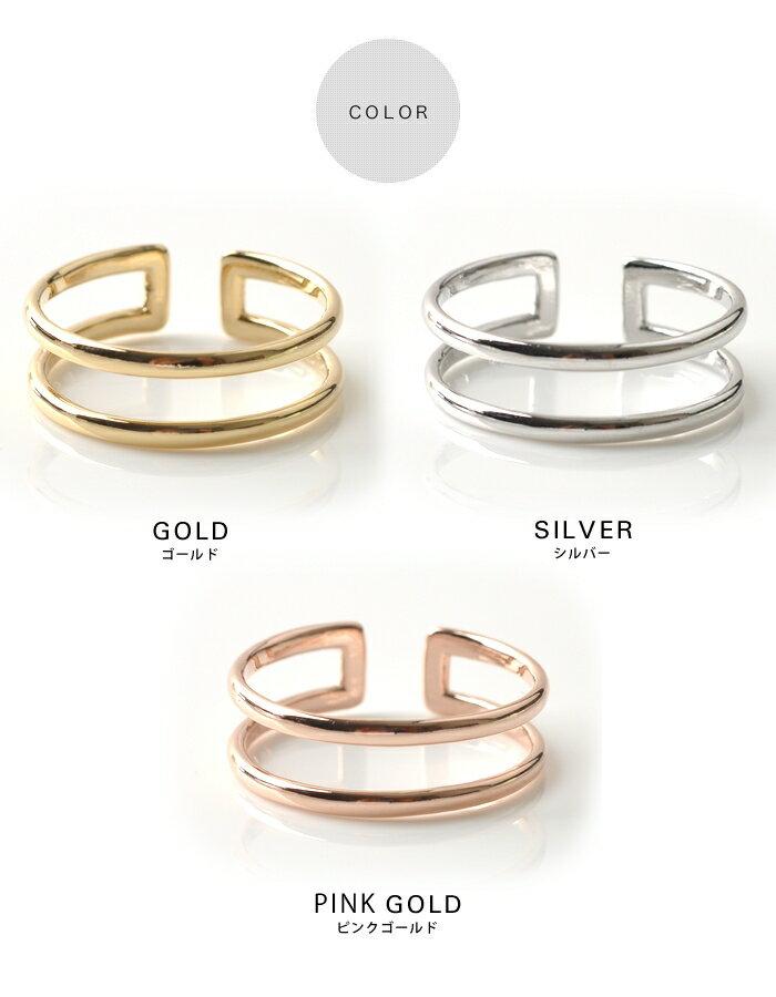 日本CREAM DOT  /  指輪 ダブルライン レディース 重ね着け シルバー ゴールド オープンタイプ ワンサイズ(11号) 細身 華奢リング 結婚式 大人可愛い  /  qc0253  /  日本必買 日本樂天直送(790) 2