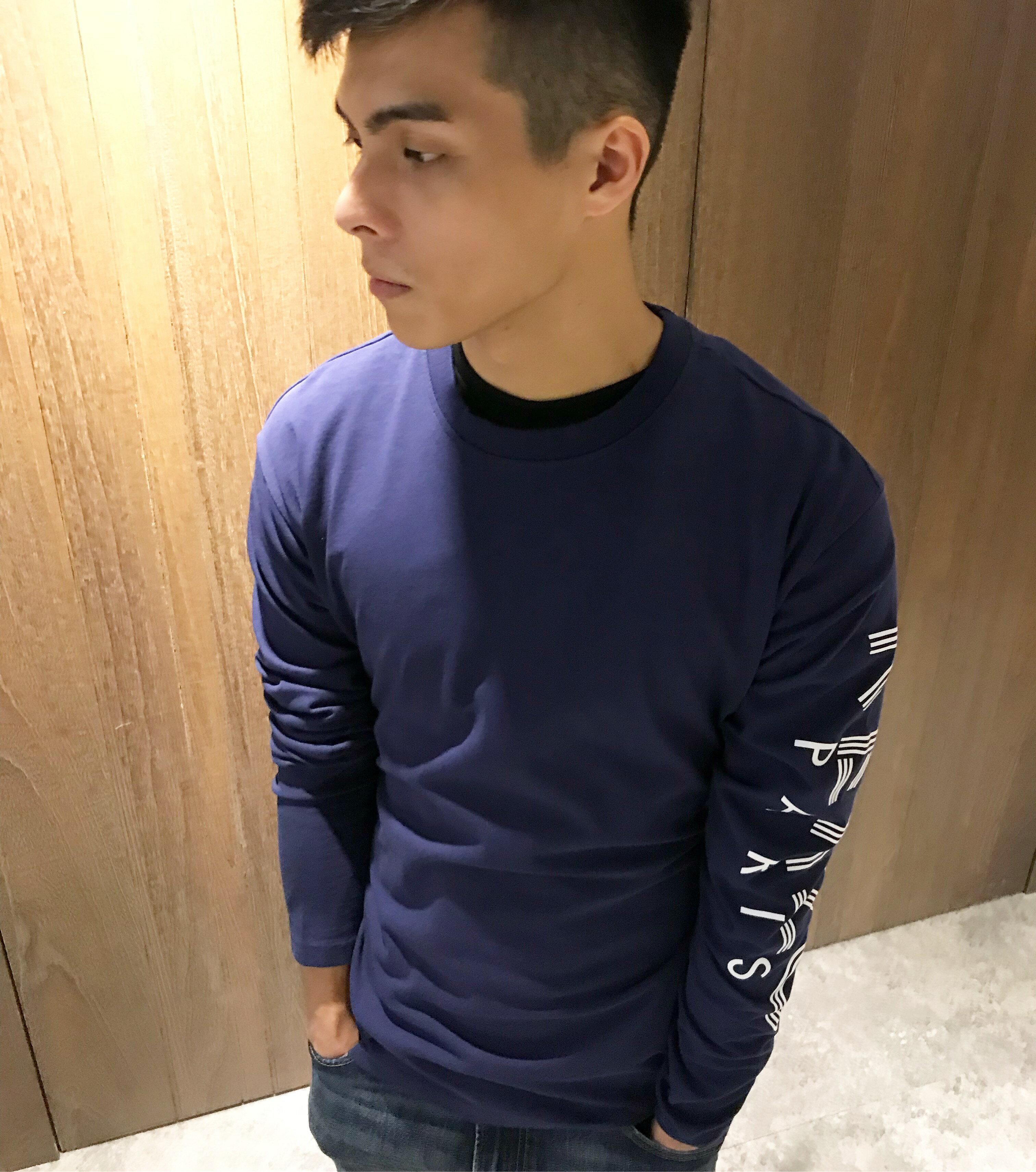 美國百分百【KENZO】高田賢三 T恤 圓領 T-shirt 長袖 logo 休閒 深藍色 S~XL號 J587
