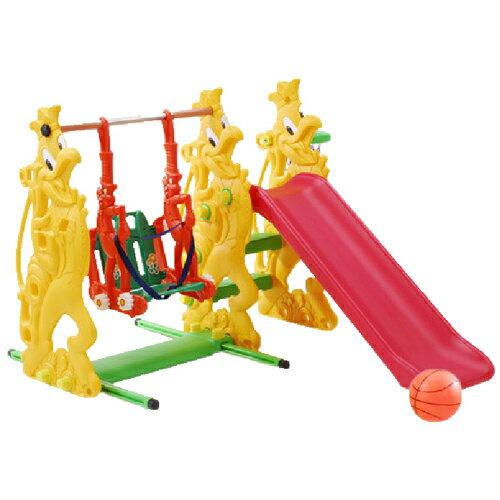 俏公雞複合式兒童育樂組溜滑梯+鞦韆 買即送球框,籃球