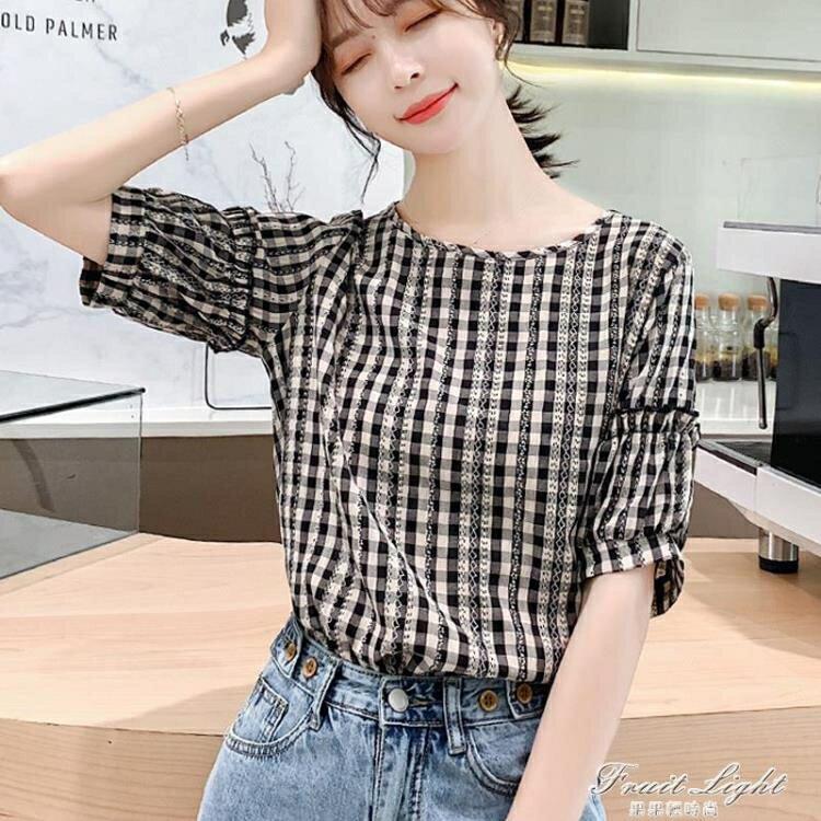 夏季設計感小眾甜美格子棉麻上衣女短袖時尚洋氣小衫寬鬆百搭襯衫 時尚學院