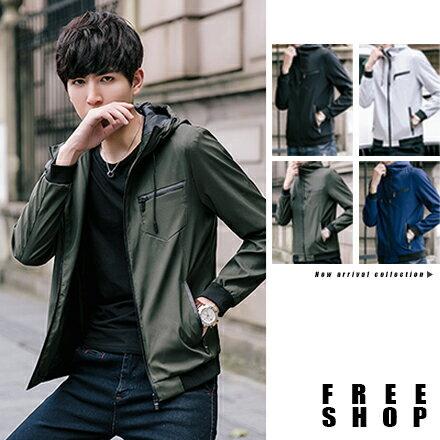 Free Shop:FreeShop立領夾克連帽外套素色太空領防風設計修身版型SLIMFIT顯瘦設計韓版薄外套【QAACW7133】