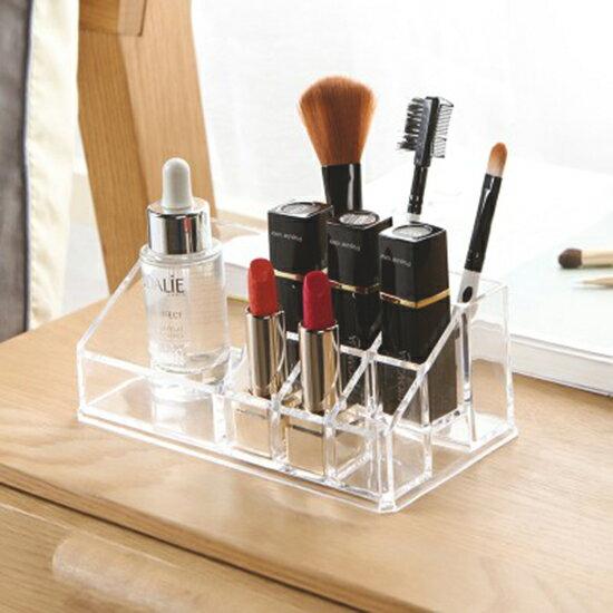 ♚MYCOLOR♚無印風格系列-透明9格化妝品收納盒化妝盒壓克力口紅整理盒梳妝台【P274】