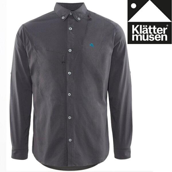 Klattermusen攀山鼠長袖襯衫抗UV長袖襯衫快乾彈性Tyr男KM20550M渡鴉黑R