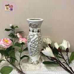 葉子點鑽花瓶-圓型-白色~【築巢傢飾】