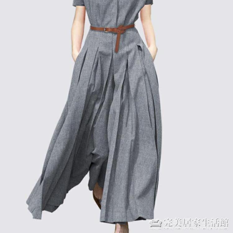 法國復古裙山本過膝大擺洋裝女春新款寬鬆顯瘦a字襯衫裙潮