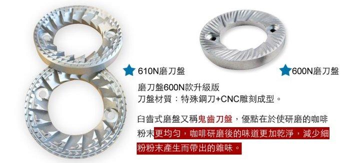 楊家 飛馬牌 610N鬼齒刀盤組 平刀升級 小飛馬磨盤組-特殊鋼刀+CNC雕刻 電動磨豆機用