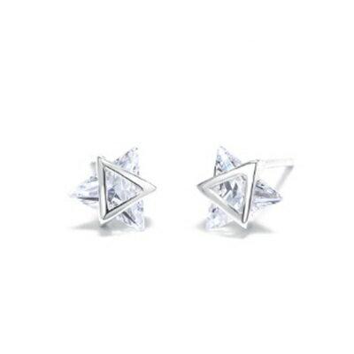 ~925純銀耳環鑲鑽耳飾~可愛 星星 生日情人節 女飾品73dz61~ ~~米蘭 ~