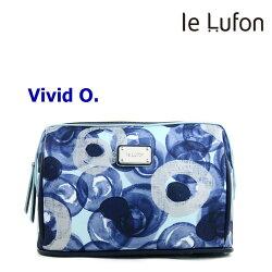 【le Lufon】幾何抽象圓型印花布拼接皮革 化妝包/手拿包/萬用包/多功能淑女隨身包-Vivid O (共6色)