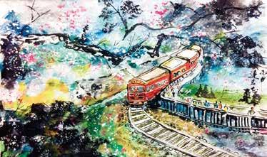 畫作磁鐵-阿里山小火車【連志忠】馬口磁鐵 / 身障畫家們透過畫作表達自己對台灣這片土地的愛 7.9cm*5.4cm*1.5cm