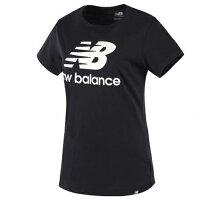 New Balance 美國慢跑鞋/跑步鞋推薦New Balance 女裝 短袖 休閒 經典LOG 棉質 基本款 黑 白【運動世界】AWT81536BKW