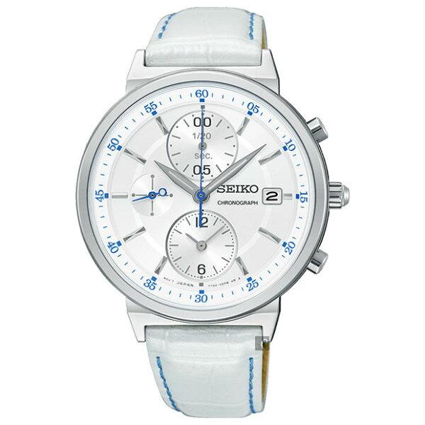 Seiko精工錶7T92-0VN0W(SNDV29P1)彩漾CS系列三眼計時女錶白*白面32mm