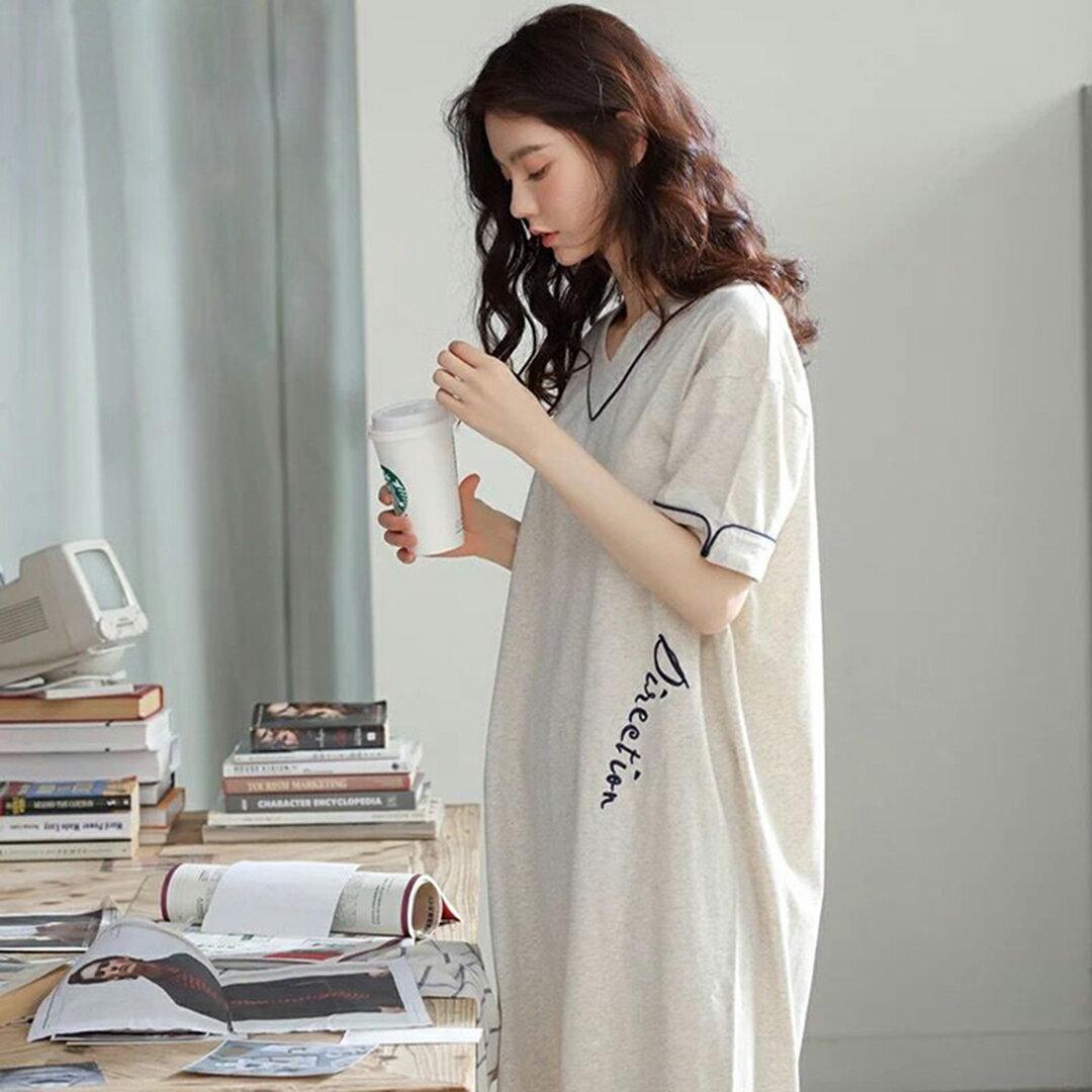 精梳棉- 韓版寬鬆顯瘦居家服睡裙 M-XL(中大尺碼可穿)【漫時光】(G072)★裙裝熱銷NO.1★ 1