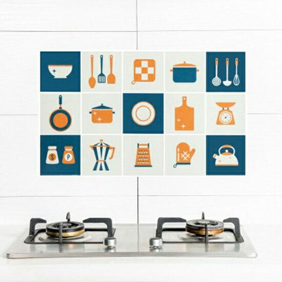 ?MY COLOR? 印花卡通防油壁貼 自黏 耐高溫 防油污 貼紙 家用 灶台 磁磚 牆貼【M181】
