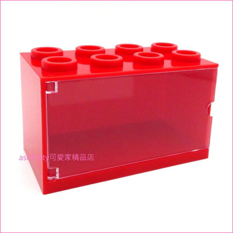asdfkitty可愛家☆TOMICA小汽車展示收納盒-紅色-可堆疊排放-