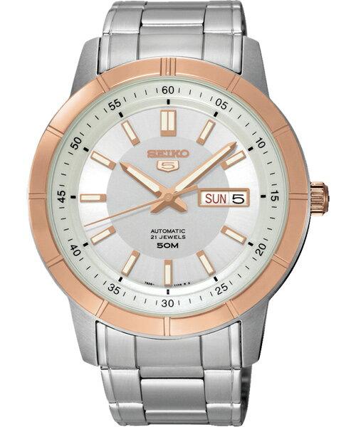 Seiko 精工五號 7S26-04E0P(SNKN56J1)經典雙色雙日曆腕錶/白面43mm