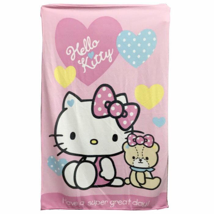 【真愛日本】17112400001 刷毛毯-KT熊熊愛你粉 三麗鷗 kitty 凱蒂貓 毛毯 毯子 懶人毯