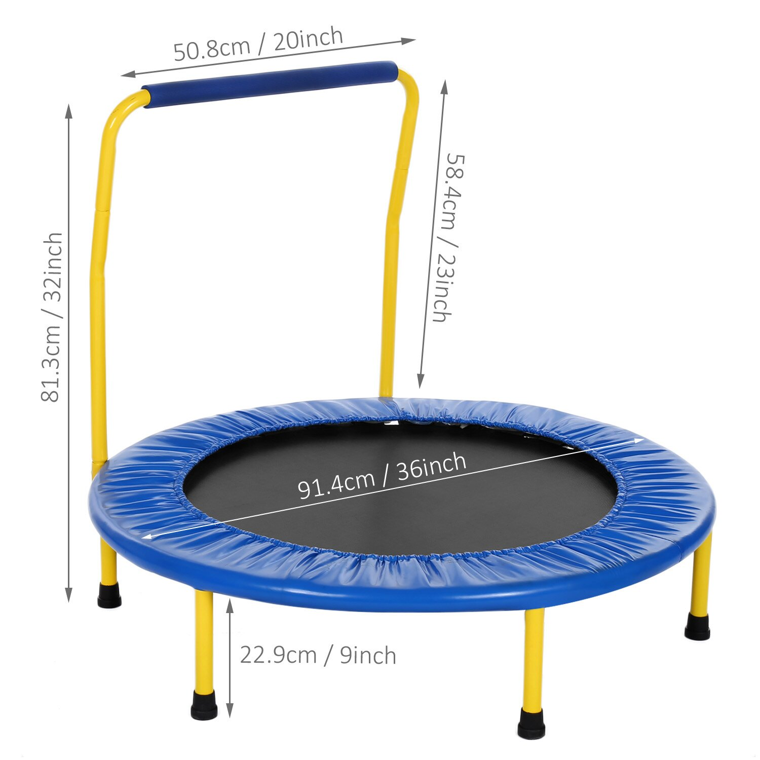 Kids Foldable Durable Construction Safe Trampoline with Padded Frame 6