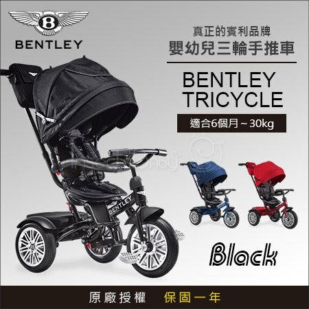 ✿蟲寶寶✿【英國Bentley】原廠授權Bentley賓利時尚超豪華6合1嬰幼兒手推車學步車三輪車黑色
