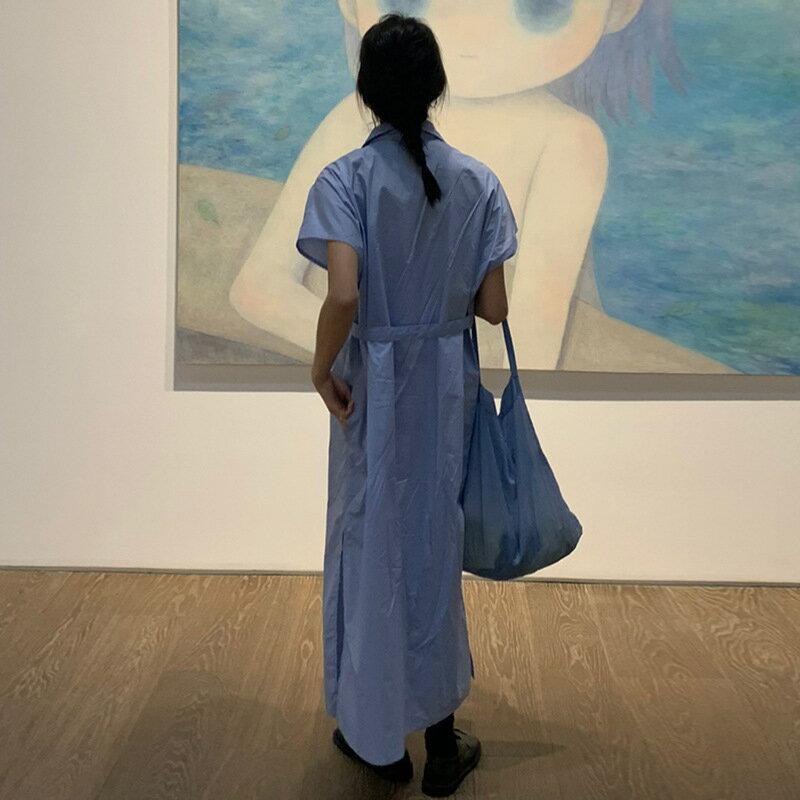 簡約小心機單側腰帶小飛袖襯衫連衣裙女夏季復古文藝慵懶長裙