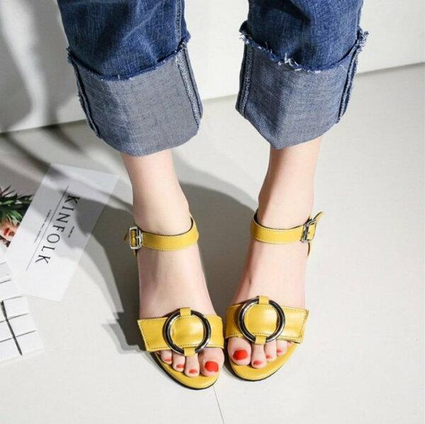 Pyf♥簡約百搭韓版高跟鞋圓鐵釦羅馬中跟女鞋粗跟一字扣帶涼鞋43大尺碼女鞋