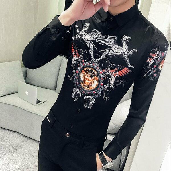 FINDSENSEG6韓國時尚季新款男士長袖襯衫個性宮廷風格襯衫男裝