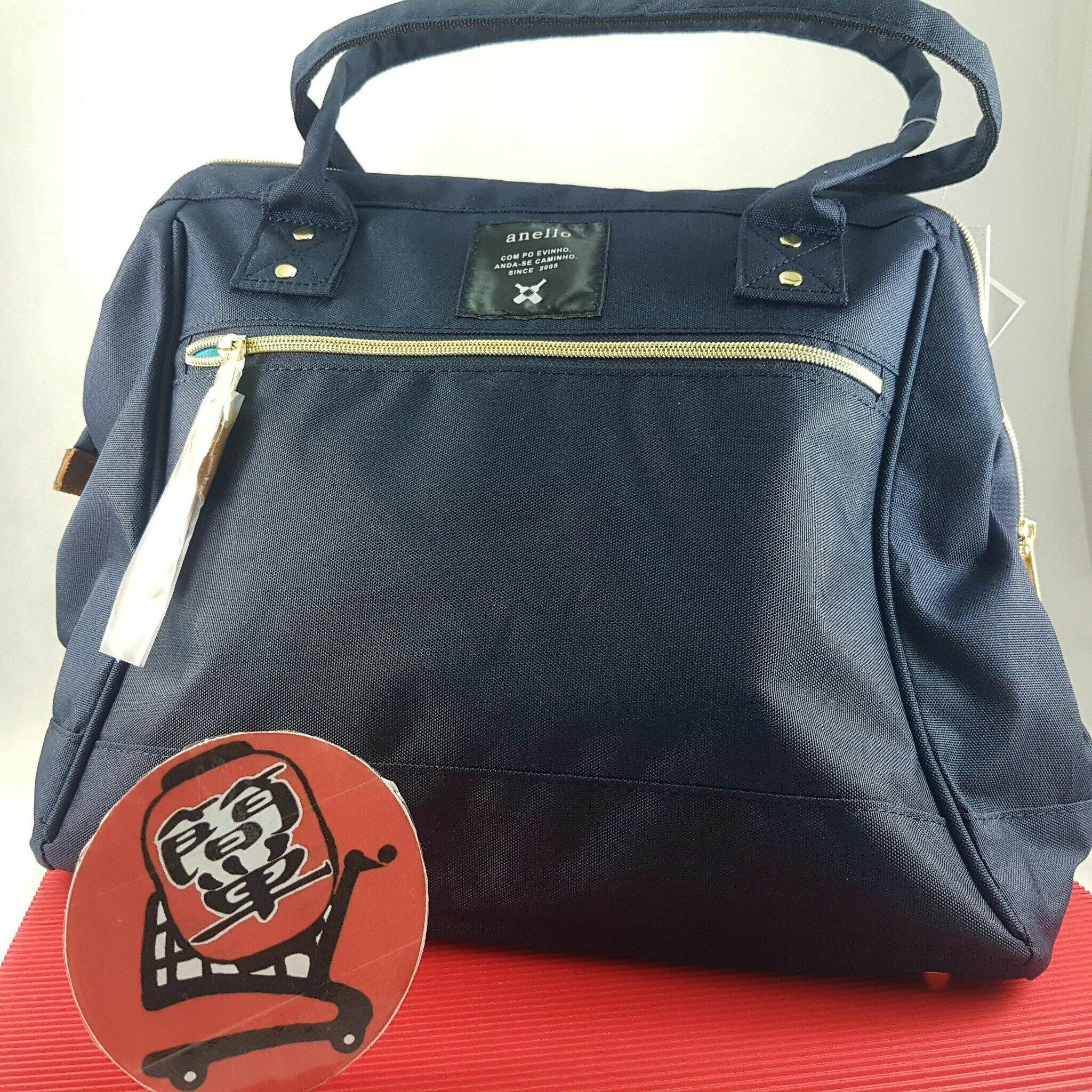 『簡単全球購』大尺寸波特包-深藍 anello 新款 皮質大開口後背包 皮製2WAY手提包超便利寬口包