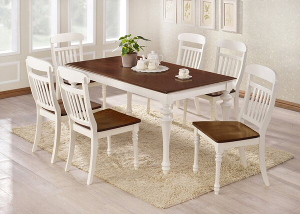 !新生活家具!《古典美》全實木橡膠木1桌6椅餐桌餐椅局部仿舊設計美式古典復古